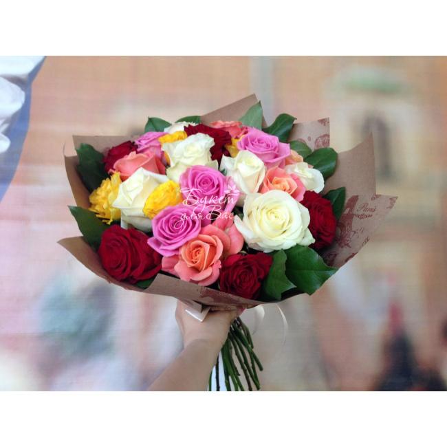 Роз, букет из цветных роз маленьких